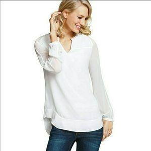 CAbi Allure Blouse Sheer White Long Sleeve